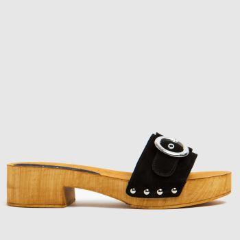 schuh Black Vanessa Suede Clog Womens Sandals