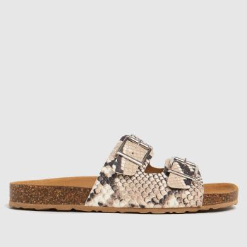 schuh Brown & White Trust Leather Double Buck Womens Sandals