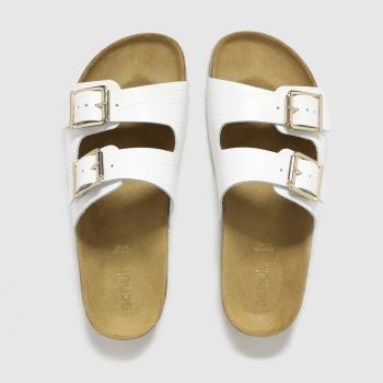 schuh White Trust Croc Leather Double Buck Womens Sandals