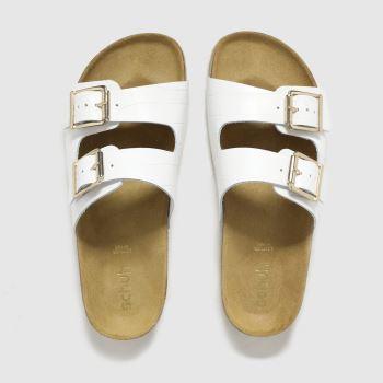 schuh White Trust Croc Leather Double Buck Sandals