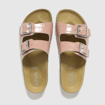schuh Pale Pink Trust Croc Leather Double Buck Womens Sandals