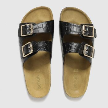 schuh Black Trust Croc Leather Double Buck Womens Sandals