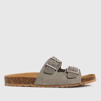 schuh Grey Trust Nubuck Double Buckle Womens Sandals