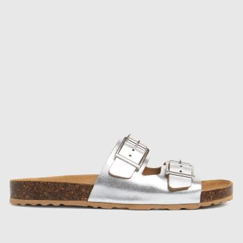 schuh Silver Trust Leather Double Buck Womens Sandals
