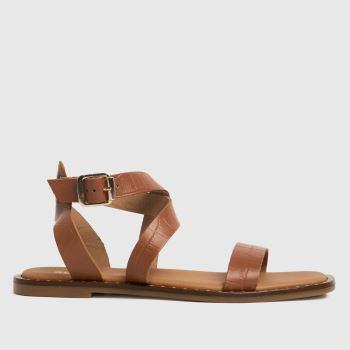 schuh Tan Toni Leather Croc Ankle Strap Womens Sandals