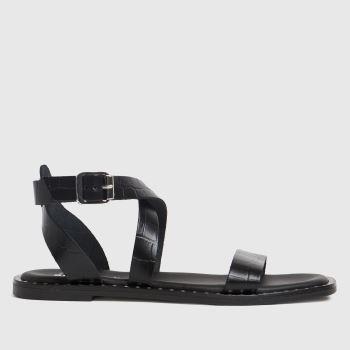 schuh Black Toni Leather Croc Ankle Strap Womens Sandals