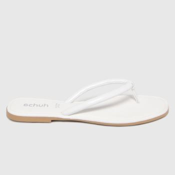 schuh White Tassy Toe Post Womens Sandals