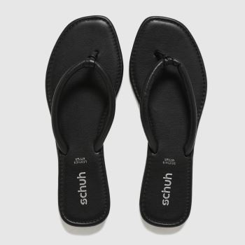 schuh Black Tassy Toe Post Womens Sandals