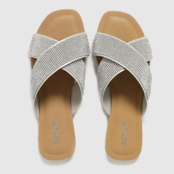 schuh Silver Tali Embellished Womens Sandals