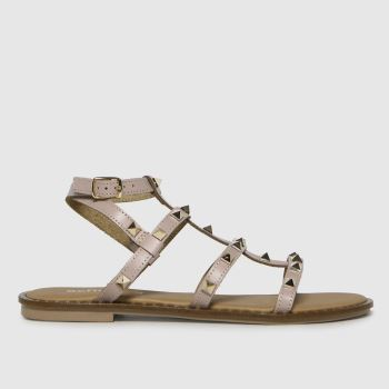 schuh Natural Tara Leather Studded Gladiator Womens Sandals