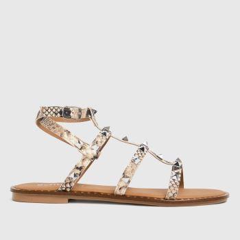 schuh Beige & Brown Tara Leather Studded Gladiator Womens Sandals