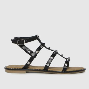 schuh Black Tara Leather Studded Gladiator Womens Sandals