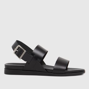 schuh Black Tori Leather Two Band Womens Sandals