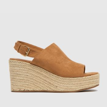 schuh Tan Vicky High Vamp Espadrille Womens Sandals