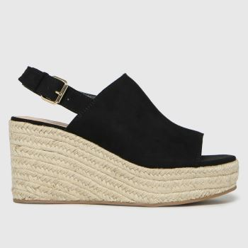 schuh Black Vicky High Vamp Espadrille Womens Sandals