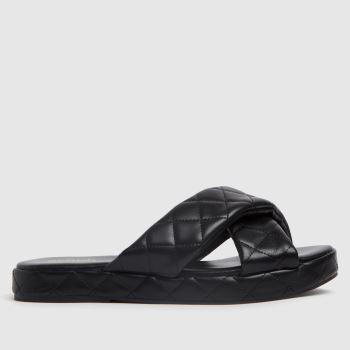 schuh Black Trudie Padded Cross Strap Womens Sandals