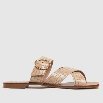 schuh Natural Tiny Croc Buckle Square Toe Womens Sandals