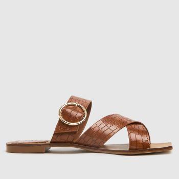 schuh Tan Tiny Croc Buckle Square Toe Womens Sandals