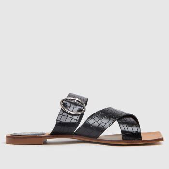 schuh Black Tiny Croc Buckle Square Toe Womens Sandals