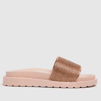 schuh Bronze Tessa Embellished Slider Womens Sandals