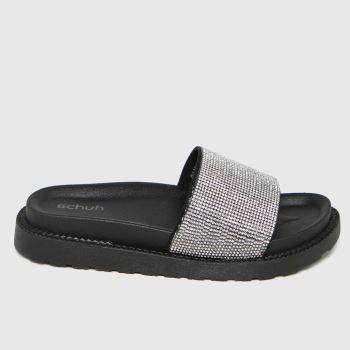 schuh Black Tessa Embellished Slider Womens Sandals
