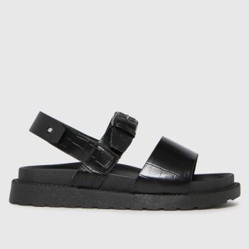 schuh Black Taytum Croc Back Strap Womens Sandals