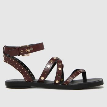 schuh Burgundy Tale Studded Strappy Sandal Womens Sandals