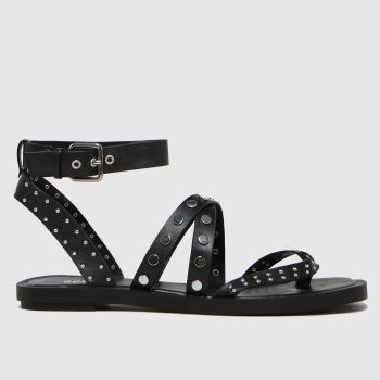 schuh Black Tale Studded Strappy Womens Sandals