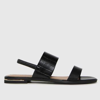 schuh Black Thea Croc Two Part Womens Sandals