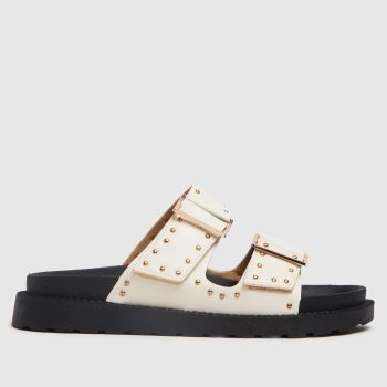 schuh White Timmey Stud Buckle Footbed Womens Sandals