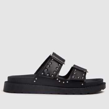 schuh Black Timmey Stud Buckle Footbed Womens Sandals