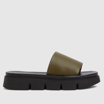 schuh Khaki Thurman Chunky Mule Slider Womens Sandals