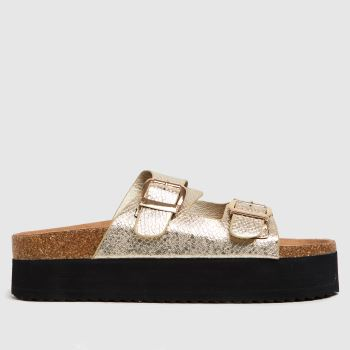 schuh Gold Tillie Double Height Footbed Womens Sandals