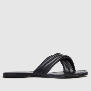 schuh Black Trilby Padded Cross Strap Mule Womens Sandals