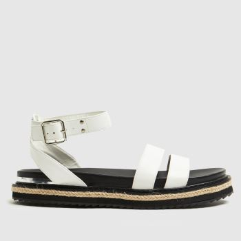 schuh White Teal Buckle Womens Sandals