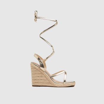 schuh Gold Viola Tie Espadrille Wedge Womens Sandals