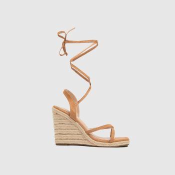 schuh Tan Viola Tie Espadrille Wedge Womens Sandals