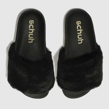 Schuh Black Fuzzy Slider c2namevalue::Womens Sandals