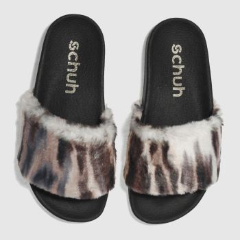 Schuh Multi Fuzzy Slider Womens Sandals