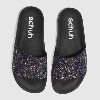 Schuh Black & Purple Proper Boss Slider Womens Sandals