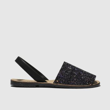 schuh Black & Purple Barcelona Womens Sandals