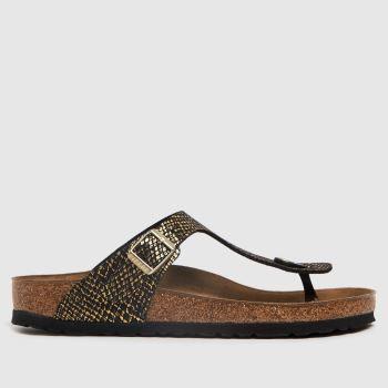 BIRKENSTOCK Black & Brown Gizeh Womens Sandals