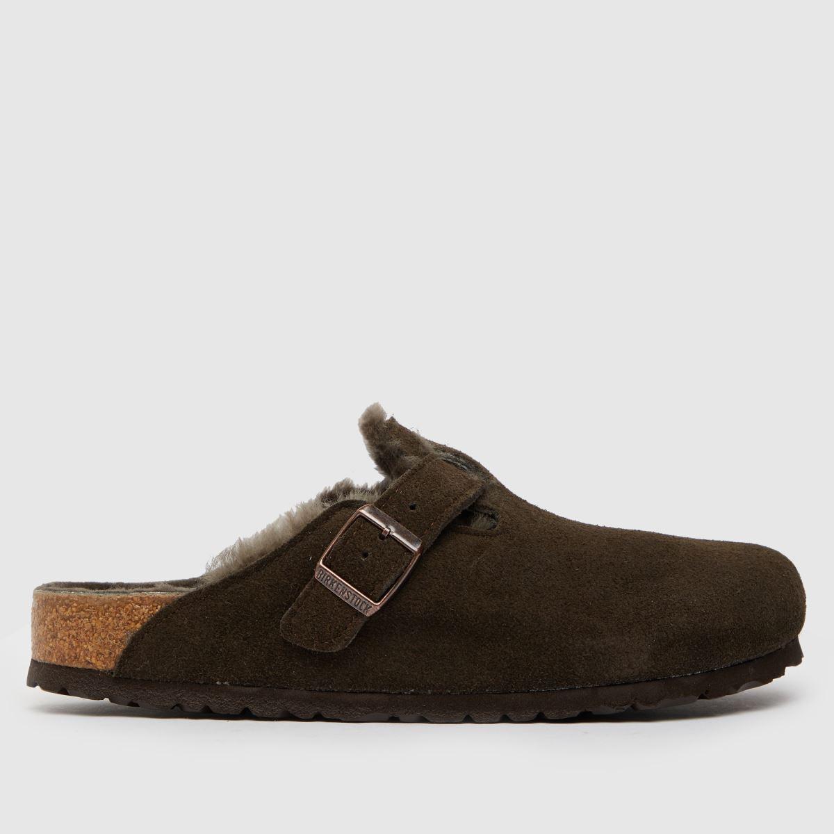 BIRKENSTOCK Brown Boston Shearling Sandals