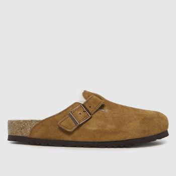 BIRKENSTOCK Tan Boston Shearling Womens Sandals