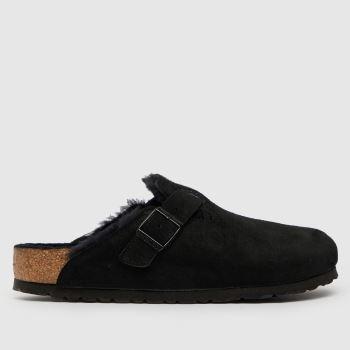 BIRKENSTOCK Black Boston Shearling Womens Sandals