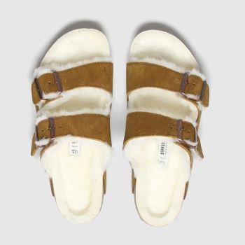 BIRKENSTOCK Tan Birk Arizona Shearling Womens Sandals