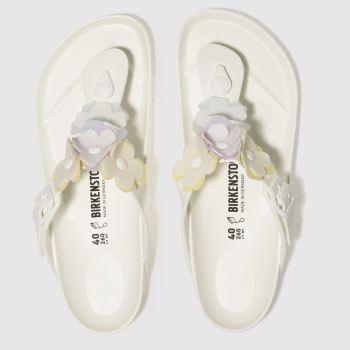BIRKENSTOCK WHITE GIZEH FLOWER EVA SANDALS
