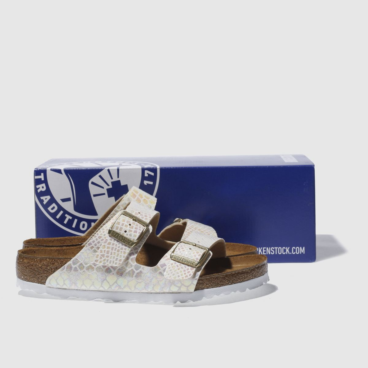 Damen Steingrau birkenstock Arizona Shiny Snake Sandalen | Schuhe schuh Gute Qualität beliebte Schuhe | 048163