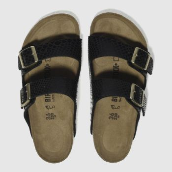 BIRKENSTOCK BLACK ARIZONA SHINY SNAKE SANDALS