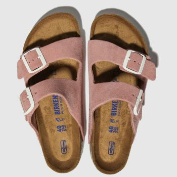 Birkenstock Pink Arizona Sfb Suede Womens Sandals